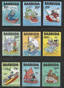 BARBUDA , 1981 , DISNEY CHARACTERS AT SEA , SET OF 9 STAMPS  , MNH , CV$24.80