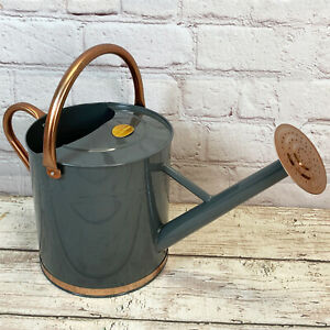 9 Litre French Grey & Copper Metal Watering Can with Rose by Selections