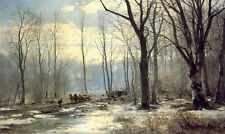 oil anders anderson lundby - holzfaller english garden of munich landscape art