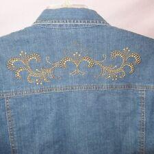 Jean Denim Jacket Studded Flowers Size Medium to Small Blue Gold