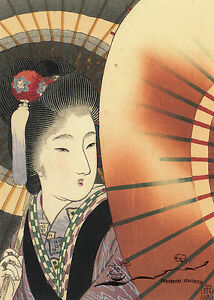 Kunstpostkarte - Tomioka Eisen:  Frau mit Schirm