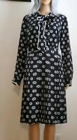 Modcloth Womens M ,XS Tunic Dress Long Sleeve Black Geo Printed Tie Front NEW