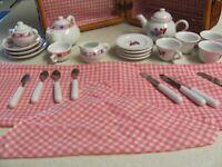 Vtg Barbie Mattel Schylling Child's Porcelain Tea Set In a Wicker Picnic Basket