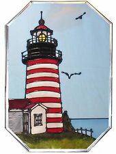 "Silver Creek Maine West Quoddy Head Lighthouse ~ 7"" x 10"" Art Glass Suncatcher"