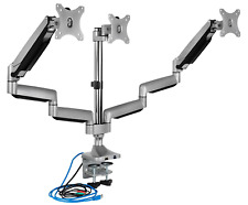 Mount-It! Triple Monitor Mount | Desk Stand with USB and Audio Ports | 3 Gas for