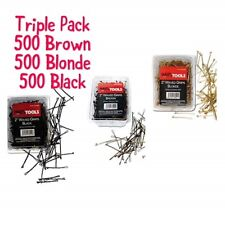 "HairTools 2"" Waved Grips 500 per Box-Triple Pack BLONDE,BLACK & BROWN"