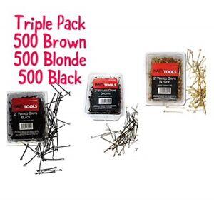 """HairTools 2"""" Waved Grips 500 per Box-Triple Pack BLONDE,BLACK & BROWN"""