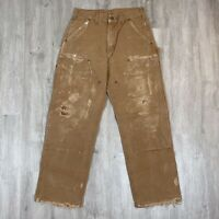 Vintage Carhartt Distressed Double Knee Brown Duck Canvas Work Pants Size 30x30