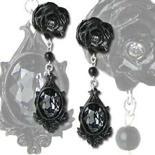 New Alchemy Gothic Black Rose Dark Desires Crystal Earrings Pewter P291