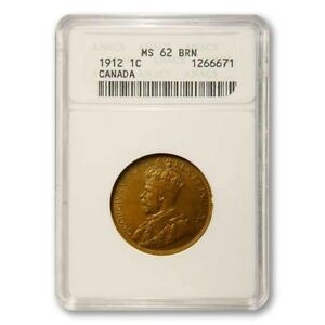 Canada Large Cent 1912 ANACS MS 62 Bn KM 21
