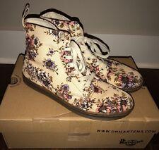 Dr. Martens Hackney Beige Canvas Ankle Boot Women's Size 9 Wild Rose Floral NIB