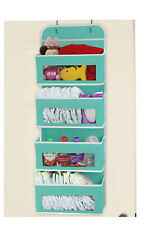 Over Door Pocket Organizer Wall Mount 4 Clear Window Pockets, Turquoise