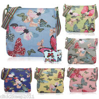Ladies Girls Butterfly Canvas Shoulder Cross Body Messenger School Bag Purse