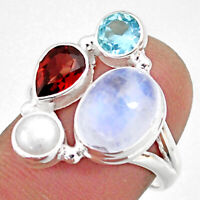 925 Silver 11.66cts Natural Rainbow Moonstone Garnet Topaz Ring Size 7.5 R63904