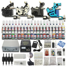 Complete Tattoo Machine Kit 4 Gun 40 Ink Needle Power Supply Cord Footswitch T02
