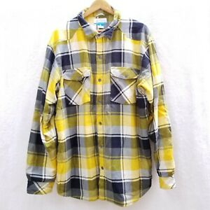 Columbia Men's XL Thick Fleece Lined Yellow Plaid Flannel Shirt Jacket