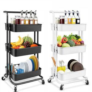 3-Tier Rolling Utility Cart Storage Cart Organizer for Kitchen Bathroom Office