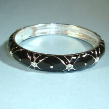 Black Silver w/ CZ Enamel Cuff Bangle Bracelet Side Opening Fits Most USA Seller