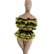 Mesh Ruffles Fringed Skirt Party Bodysuit Women Sexy Birthday Elastic Leotard