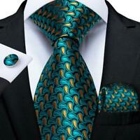 Mens Teal Brown Paisley Silk Tie Set Necktie Pocket Square Cufflinks Wedding