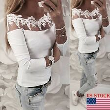Sexy Women See through Lace Mesh Sheer Long Sleeve Crop Top T Shirt Blouse Tee