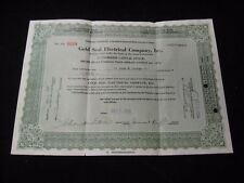 Vintage 1929 Gold Seal Electrical Company Fifty 50 Share Stock Certificate