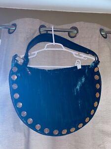 Maxx New York Large Boho Handbag, Dark Green Velvet, Black Leather, Gold Metal