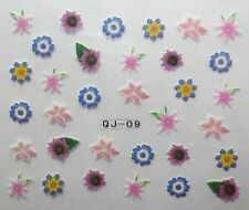 Accessoire ongles : nail art -Stickers autocollants, fleurs multicolores