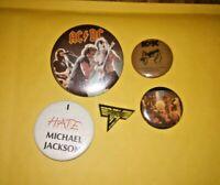 Vintage 80's Heavy Metal, Punk Rock Band Pin button badges Van Halen AcDc