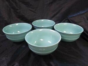 "Set of 4 Mainstays Teal Aqua Stoneware BOWLS ~ 6 1/4"""