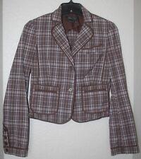 BCBG Max Azria Brown Blue & White Plaid Cotton Blazer Jacket Coat Size XS