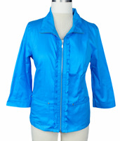 NWT, C & B Jacket Women's Large Blue Solid Ruffle Full Zip Pockets Ruched Back