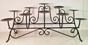 Metal Candelabra 10 Pillar Candle Holder For Fireplace, Mantel, Tabletop, Shelf