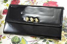VINTAGE SHILTON 1980s black patent clutch bag/handbag with detachable strap
