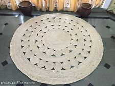 """Hand Crocheted Area Rug Rag 60"""" Round Handmade Lace Doily Jute Vintage Large"""