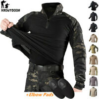Men's Military Army Combat Shirt Tactical Long Sleeve Casual T-Shirt Camouflage