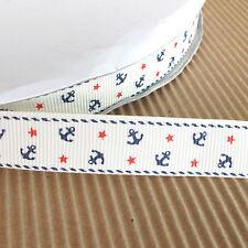 "US SELLER - 10 yds x 5/8"" Grosgrain Anchor w/Star Ribbons for Hair Bows 5R11"