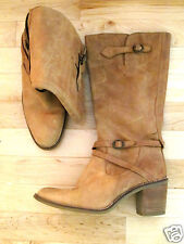 Barneys NY boots mid calf beige tan brown boots gen leather Pristine 37 6.5 7