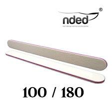Lima de uñas Profesional Recta Blanca 2 Caras Abrasión 100/180 NDED Gel,Tip