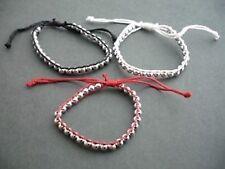 Red, black and white woven silver bead bracelets x 3  - Balouli