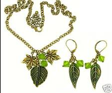 Autumn Leaf Antique Crystal Necklace and Earring Set