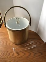 VTG MID CENTURY Gold & Silver Shelton Ware Ice Bucket-Bamboo Gold Handle