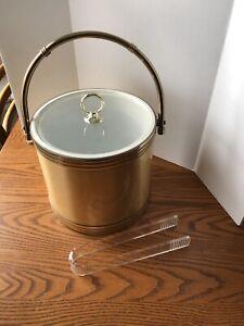 VTG MID CENTURY Gold & Silver Shelton Ware Ice Bucket-Bamboo Gold Handle
