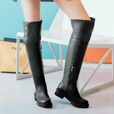 Womens Over the Knee Boots Buckle Round Toe Chunky Heel Riding Shoes Plus Size