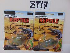2 VINTAGE WIND-UP ACTION REPTILE LOT BTC PRODUCT RARE NOS SEALED