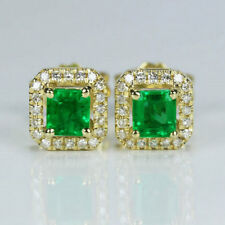 Solid G18K Yellow Gold Princess Natural Emerald Brilliant Diamond Stud Earrings