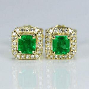 Solid G18K Yellow Gold Princess Natural Emerald Brilliant Diamond Stud Earrings
