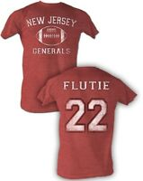Doug Flutie #22 USFL New Jersey Generals Men's Tee Shirt Red Heather Sizes S-5XL