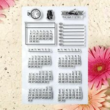 Calendar Transparent Clear Stamp Sheet DIY Photo Album Cards Craft Scrapbook New
