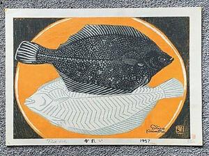 SHIRO KASAMATSU - Flat Fish - Woodblock Print 87/100 1957 Signed Seal Vintage